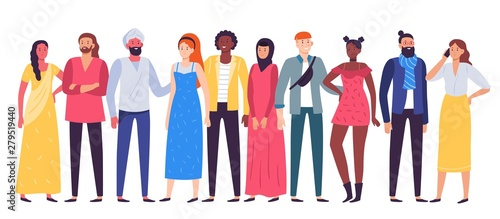 Obraz Multiethnic people group. Workers team, diverse people standing together and coworkers in casual outfit flat vector illustration - fototapety do salonu