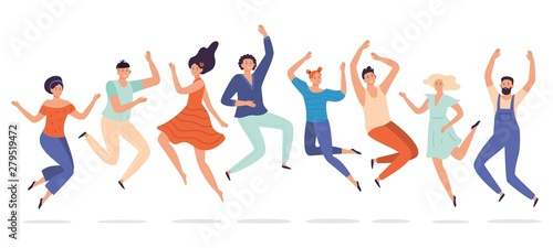 Young people jump. Jumping teenagers group, happy teen laughing students and smiling excited people flat vector illustration