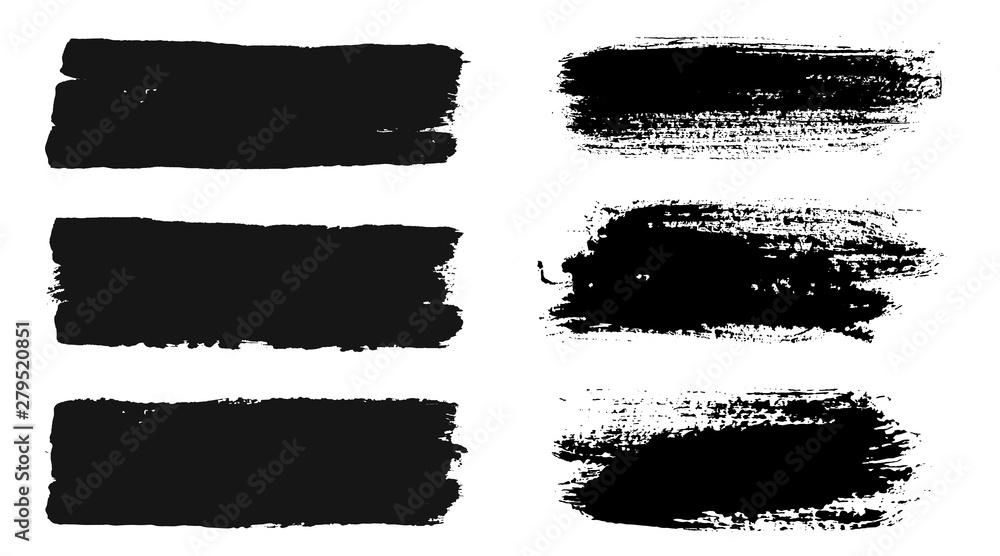 Fototapeta Brush strokes. Vector paintbrush set. Grunge design elements.