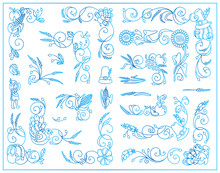 Vector Vintage Elements For Frame Design. Cute Corners, Dividers, Tiny Arts In Thanksgiving Day Theme. Blue Watercolor Abstract Style