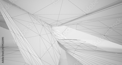 Fotografie, Obraz  Drawing abstract architectural white interior of a minimalist house with large windows