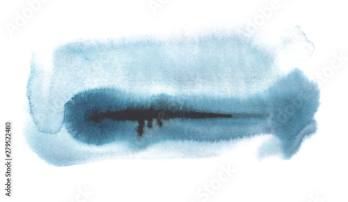 Abstract watercolor brush strokes painted background. Texture paper. Blue tone. Isolated on white background.