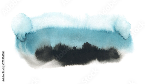 Abstract watercolor brush strokes paint. Texture paper. Blue tone. Isolated on white background.