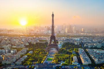 Panel Szklany Miasta Aerial view of Paris