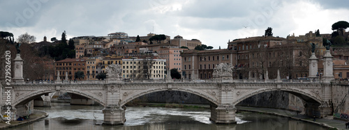 Ponte Vittorio Emanuele II, a bridge in Rome, Italy, to cross the Tiber river in the historic center of Rome.