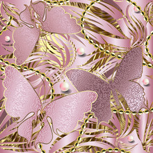 3d Glittery Butterflies Seamless Pattern. Abstract Textured Rose Gold Background. Repeat Striped Backdrop. Floral Jewelry Shiny Ornament. Stripes, Pearls, Beads,  Flowers, Butterflies. Ornate Design