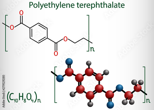 Photo  Polyethylene terephthalate or PET, PETE polyester, thermoplastic polymer molecule