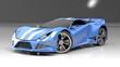 Modern blue sports car ,3d ,render.