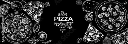 Italian pizza and ingredients top view frame Slika na platnu