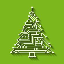 Electronic Circuit Christmas Tree, Happy New Year