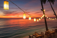 Outdoor Cafe On The Beach During Sunset On Koh Chang Island, Thailand.