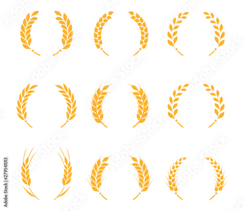 Tablou Canvas Collection of silhouette circular laurel foliate, wheat and oak wreaths depicting an award