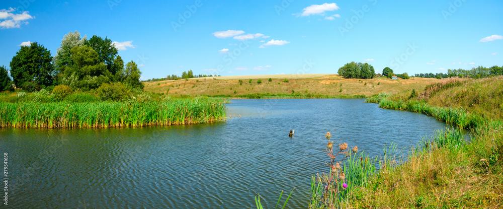 Fototapety, obrazy: landscape with lake and blue sky
