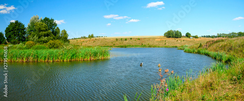 Deurstickers Pool landscape with lake and blue sky