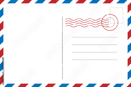 Photo Blank vintage post card template with stamp.vector illustration