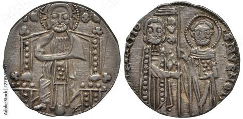 Photographie  Venice Venetian silver coin grosso 14th century, ruler Doge Giovanny Soranzo, fi