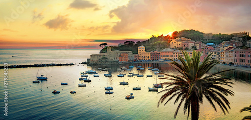 Garden Poster Liguria Silence bay and seaside of small resort town Sestri Levante at sunset. Genova Province, Liguria, Italy
