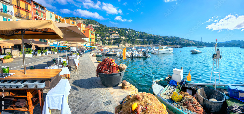 Fototapety, obrazy: Street scene with cafe and fishing boat in resort town Villefranche-sur-Mer. Cote d'Azur, France