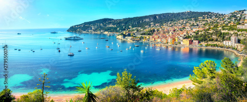 Photo sur Toile Nice Resort town Villefranche sur Mer. French Riviera, Cote d'Azur, France