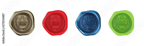 Obraz Tested quality, sealing wax. Various colors on a neutral background. - fototapety do salonu