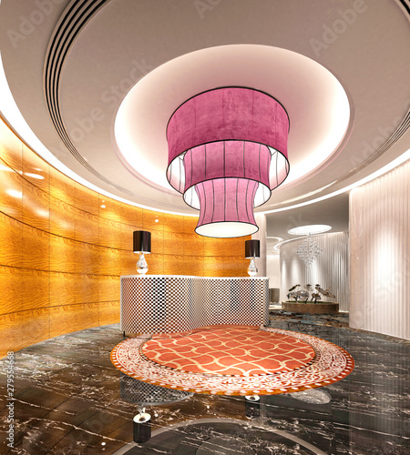 3d render luxury hotel reception and front desk - Buy this ...