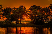 A Warming Blissful Evening's Sunset In The Marsh South Of Houston, Texas In The Gulf Of Mexico