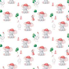 Cute elephant pattern. Seam...