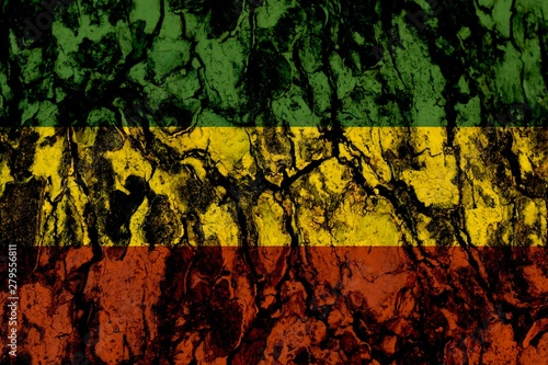 Fototapeta  Green yellow red on wood texture background,reggae background concept