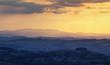 Sunset Light Over Rolling Hills of Shropshire in UK