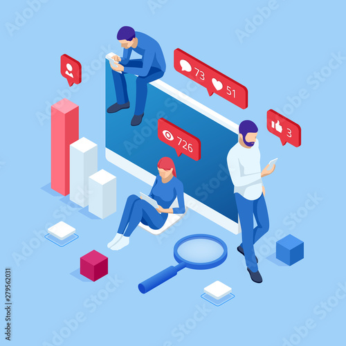 Obraz Isometric thumbs up like social network concept. Blogging, online messaging, social networking services. Young people using mobile gadgets such as laptop, tablet pc, smartphone for social networking - fototapety do salonu