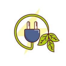 Plug And Leaf Vector Illustrat...