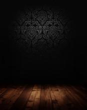Dark Interior Room With Baroque Wallpaper