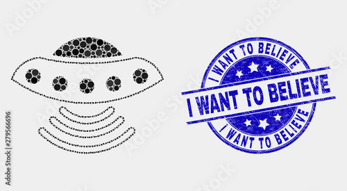 фотография Pixel UFO mosaic icon and I Want to Believe seal stamp