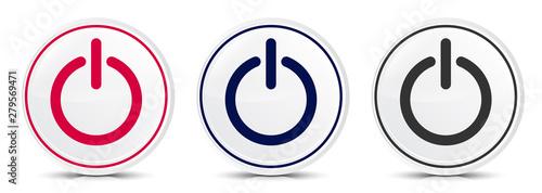 Tela Power icon crystal flat round button set illustration design