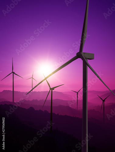 Montage in der Fensternische Violett Wind turbine farm power generator in beautiful nature landscape for production of renewable green energy is friendly industry to environment. Concept of sustainable development technology.