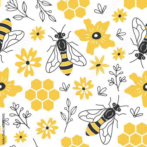 fototapeta na drzwi i meble Seamless pattern with bees and flowers.