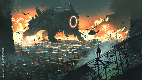 sci-fi scene of the creature machine invading city, digital art style, illustration painting