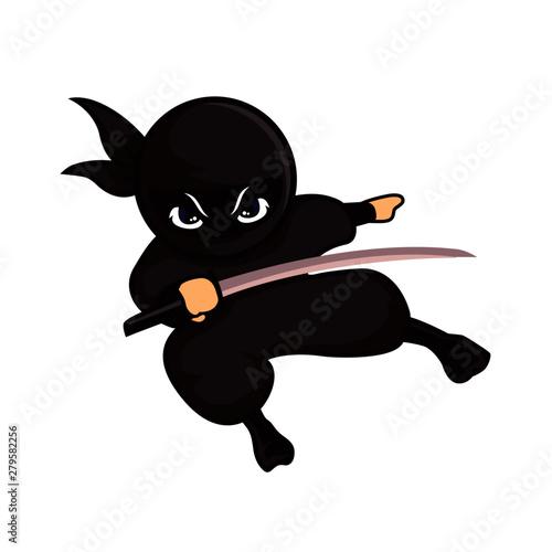 Fotografie, Tablou  black ninja holding a sword ready to fight
