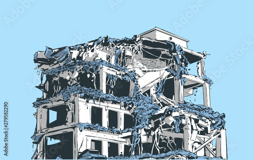Illustration of collapsed building due to earthquake, natural disaster, explosio Fotobehang