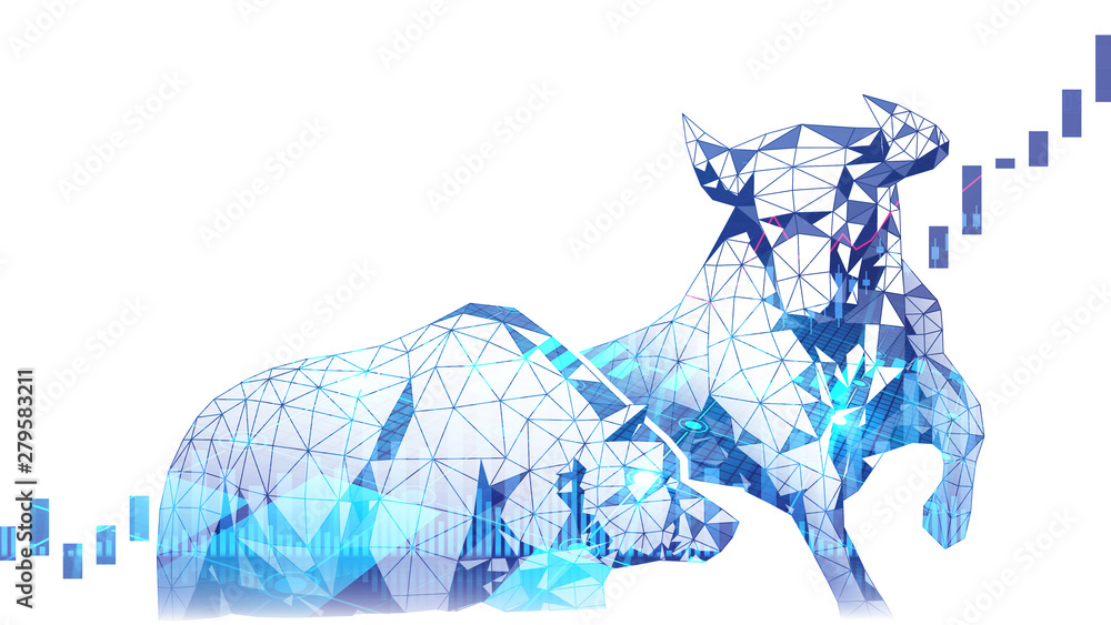 Fototapeta Polygonal art of Bullish vs Bearish