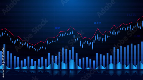 Stampa su Tela Stock market or forex trading graph