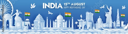 Fotografie, Obraz illustration of Famous Indian monument and Landmark for Happy Independence Day o