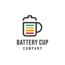 Energy Battery Coffee Cup . Cup With A  Battery Illustration. Vector Flat Banner