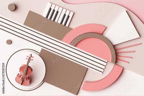 Fotomural Violin and music instrument concept, Abstract composition of geometric shapes platforms in pastel pink tone