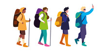 People With Backpack And Stick...