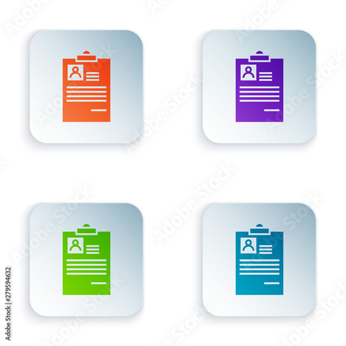 Color Clipboard with resume icon isolated on white background  CV