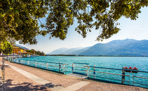 Promenade in Lovere on the Lago d Iseo in Lombardy Italy