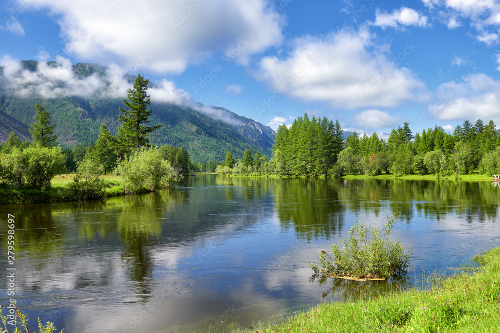 Fototapety, obrazy: Beautiful Siberian small river in mountain valley
