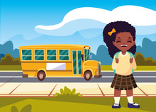 Student Girl With Bus Back To School