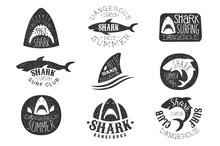 Dangerous Shark Surf Club Set Of Black And White Prints